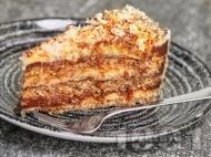 Домашна торта Династия с орехови блатове и маслен и шоколадов крем